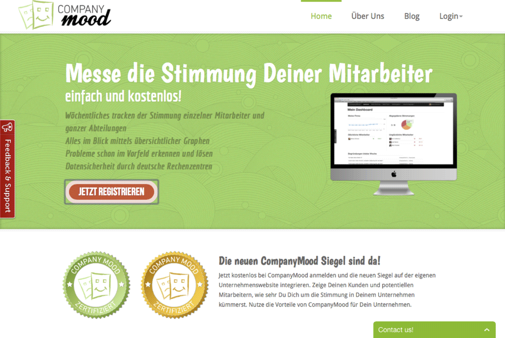 Screenshot Webdesign Company-Mood.de (April 2015)